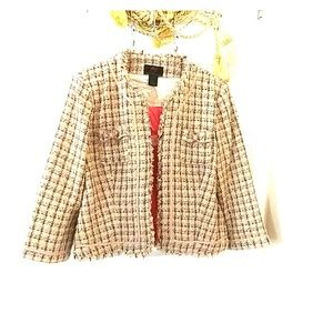Anthropologie chanel dupe boucle bow blazer